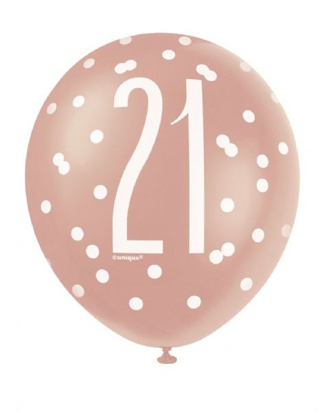 Glitz Rose Gold Age 21 Latex Balloons (6)